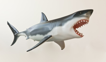 A Model of a Great White Shark Isolated Against White