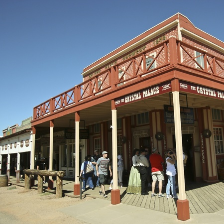 Tombstone, Arizona - October 22: Allen Street on October 22, 2011, in Tombstone, Arizona. The Crystal Palace Saloon welcomes tourists to historic Allen Street where gunfights and barroom brawls are staged during this annual celebration of the Old West. Stock Photo - 10977206