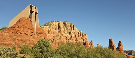 Sedona, Arizona - November 23: The Chapel of the Holy Cross on November 23, 2011, in Sedona, Arizona. The Chapel of the Holy Cross in the red rocks of Sedona, Arizona, earned the American Institute of Architects Award of Honor in 1957, was named one of th