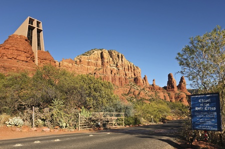 coconino national forest: Sedona, Arizona - November 23: The Chapel of the Holy Cross on November 23, 2011, in Sedona, Arizona. The Chapel of the Holy Cross in the red rocks of Sedona, Arizona, earned the American Institute of Architects Award of Honor in 1957, was named one of th