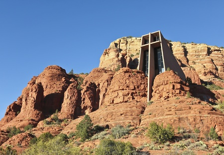 institute is holy: Sedona, Arizona - November 23: The Chapel of the Holy Cross on November 23, 2011, in Sedona, Arizona. The Chapel of the Holy Cross in the red rocks of Sedona, Arizona, earned the American Institute of Architects Award of Honor in 1957, was named one of th