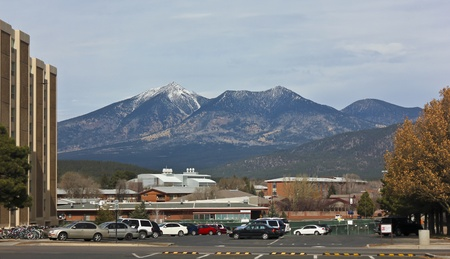 mount humphreys: Flagstaff, Arizona - November 24: The campus of Northern Arizona University on November 24, 2011, in Flagstaff, Arizona. The North Campus of Northern Arizona University lies nestled at the base of the San Francisco Peaks in Flagstaff, Arizona.