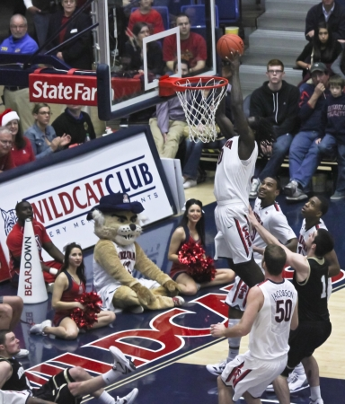 Tucson, Arizona - December 22: McKale Arena on December 22, 2011, in Tucson, Arizona. The University of Arizona Wildcats vs. Bryant. A rebound by Angelo Chol.