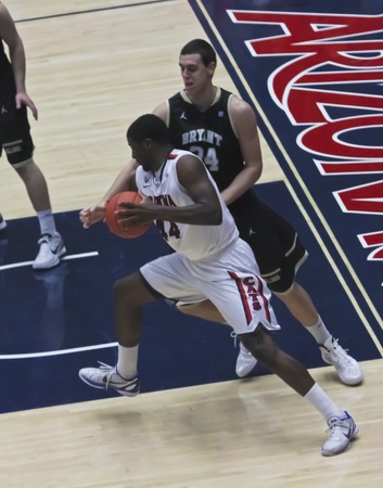 TUCSON, ARIZONA - DECEMBER 22: MCKALE ARENA on DECEMBER 22, 2011, in TUCSON, ARIZONA. The University of Arizona Wildcats vs. Bryant. A driving Solomon Hill.