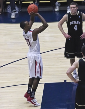 kyle: TUCSON, ARIZONA - DECEMBER 22: MCKALE ARENA on DECEMBER 22, 2011, in TUCSON, ARIZONA. The University of Arizona Wildcats vs. Bryant. A freethrow by Kyle Fogg. Editorial