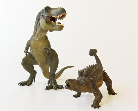 bony: Ankylosaurus and Tyrannosaurus rex battle it out against a white background