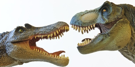 t off: A Spinosaurus Dinosaur in a Face Off with a Tyrannosaurus Rex Stock Photo