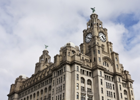 Liverpool, England - July 9:  The Royal Liver Building on July 9, 2012, in Liverpool, England. The Royal Liver Building, Liverpools most famous landmark, is home to two fabled Liver Birds that watch over the city.