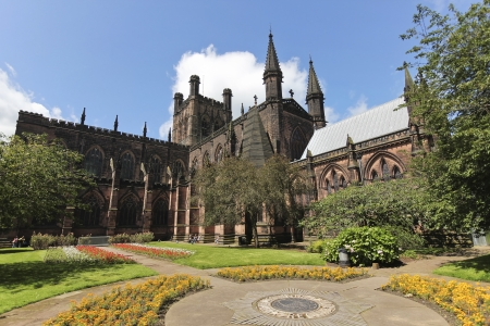 abbeys: Chester, England - July 11: Chester Cathedral on July 11, 2012, in Chester, England. The Cathedral is Chesters center of worship, administration, ceremony and music, and also a majot tourist draw.