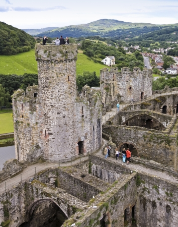 garrison: Conwy, Wales - July 17: Conwy Castle on July 17, 2012, in Conwy, Wales. Conwy Castle is the major draw in Conwy, Wales, a popular tourist destination.