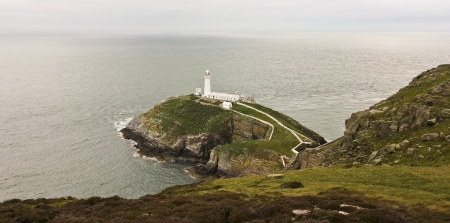 Holyhead, Wales - July 19: South Stack Lighthouse on July 19, 2012, Holyhead, Wales. South Stack is one of Wales' most spectacular lighthouses and a popular tourist attraction. Stock Photo - 15102349
