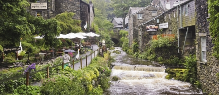 South Lakeland, Cumbria - July 23: The Giggling Goose Cafe on July 23, 2012, in Ambleside, South Lakeland, Cumbria. This town on the banks of Lake Windermere is a tourist honeypot.