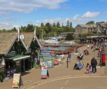 cumbria: South Lakeland, Cumbria - July 27: The Lakeview on July 27, 2012, in Bowness-on-Windermere, South Lakeland, Cumbria. This town on the banks of Lake Windermere is a tourist honeypot.