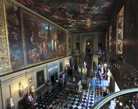 chatsworth: Derbyshire, Great Britain - July 5: Chatsworth House Painted Hall on July 5, 2012, in Derbyshire, Great Britain. Chatsworth House is one of Britains most stately homes and biggest tourist draws. Editorial