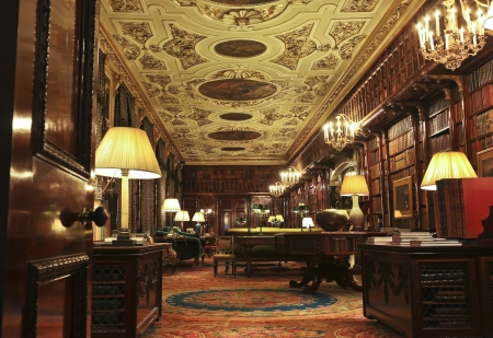 grandiose: Derbyshire, Great Britain - July 5: Chatsworth House Library on July 5, 2012, in Derbyshire, Great Britain. Chatsworth House is one of Britains most stately homes and biggest tourist draws.