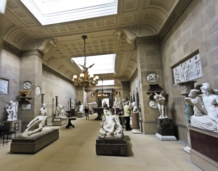 grandiose: Derbyshire, Great Britain - July 5: Chatsworth House Sculpture Gallery on July 5, 2012, in Derbyshire, Great Britain. Chatsworth House is one of Britains most stately homes and biggest tourist draws. Editorial