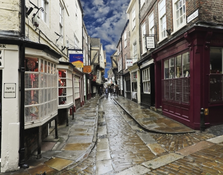 shambles: York, England - July 6: The Shambles on July 6, 2012, in York, England. A look at shoppers on the popular street in York, England Editorial