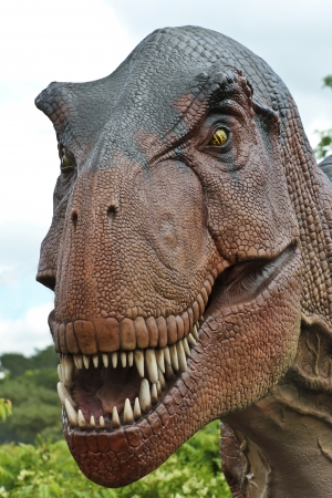 A Tyrannosaurus Rex Hunts in a Late Cretaceous Forest Stock Photo