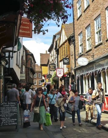 shambles: York, England - July 7: The Shambles on July 7, 2012, in York, England. A look at shoppers on the popular street in York, England Editorial