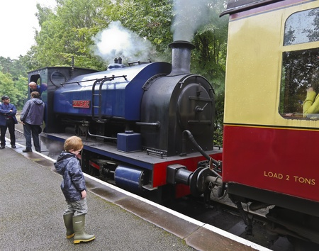 cumbria: Newby Bridge, England - July 24: The Princess on July 24, 2012, in Newby Bridge, Cumbria, England. The Lakeside and Haverthwaite Railway train, Princess, is very popular with tourists in the Lake District.