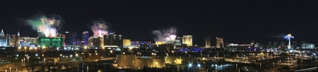 Las Vegas, Nevada - January 1: The Strip on January 1, 2013, in Las Vegas, Nevada. Fireworks skyrocket above four different casinos on the Las Vegas Strip during the citys annual New Years Eve celebration.
