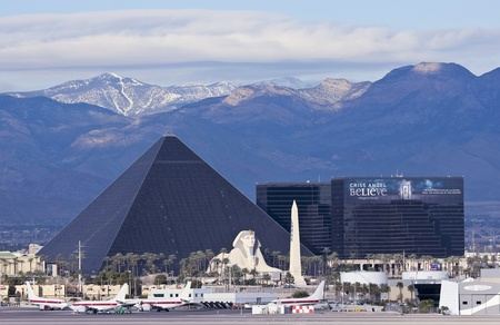 Las Vegas, Nevada - December 29: The Luxor Casino on December 29, 2012, in Las Vegas, Nevada. The Luxor Casino and Spring Mountains as seen from McCarran International Airport.