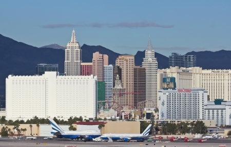 Las Vegas, Nevada - December 29: The New York Casino on December 29, 2012, in Las Vegas, Nevada. The New York Casino and Spring Mountains as seen from McCarran International Airport.