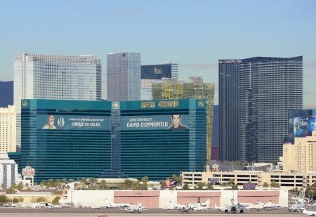 Las Vegas, Nevada - December 29: The MGM Grand Casino on December 29, 2012, in Las Vegas, Nevada. The MGM Grand Casino as seen from McCarran International Airport.