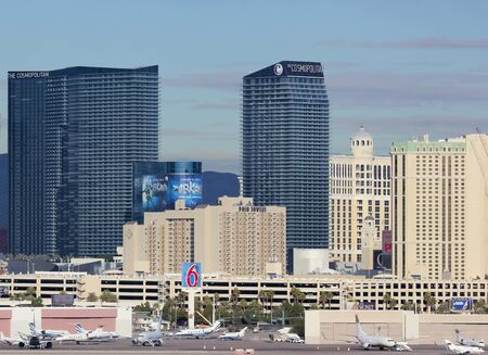 Las Vegas, Nevada - December 29: The Cosmopolitan Casino on December 29, 2012, in Las Vegas, Nevada. The Cosmopolitan Casino as seen from McCarran International Airport.