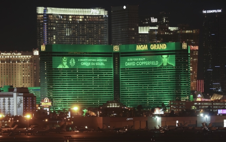 cirque du soleil: Las Vegas, Nevada - January 1: The MGM Grand Casino on January 1, 2013, in Las Vegas, Nevada. The MGM Grand Casino at night as seen from McCarran International Airport. Editorial