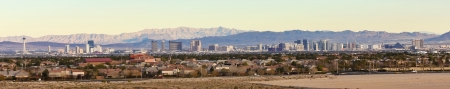 new york strip: A Las Vegas Strip and Frenchman Mountains View from Summerlin, Nevada
