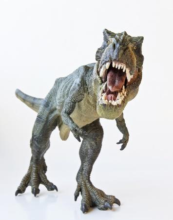 Un Tyrannosaurus Rex caza contra un fondo blanco.