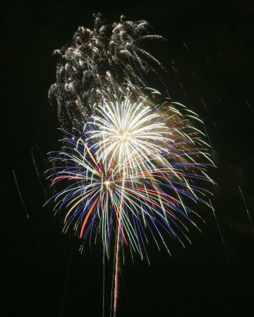 A Black Night Sky Full of Colorful Exploding Fireworks