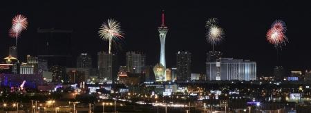 stratosphere: Las Vegas, Nevada - December 28: The Stratosphere Casino on December 28, 2012, in Las Vegas, Nevada. The Stratosphere Casino at night as seen from McCarran International Airport.