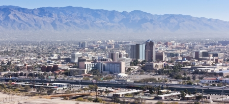 tucson: A Daytime Aerial Shot of Interstate 10, Downtown Tucson, Arizona, and the Santa Catalina Mountains