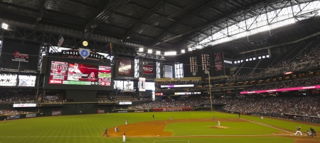 Phoenix, Arizona - June 9: Chase Field on June 9, 2013, in Phoenix, Arizona. An Arizona Diamondbacks - San Francisco Giants major league baseball game at Chase Field in Phoenix, Arizona.