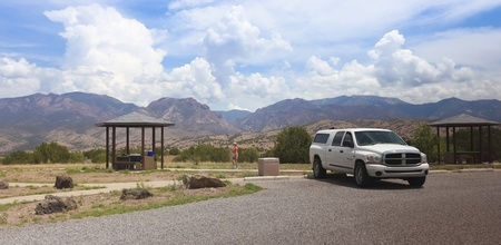 nm: A woman stops for lunch at the Aldo Leopold Vista picnic area along NM 180, New Mexico, on July 11, 2013.
