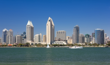 diego: A View of San Diego Bay and Downtown San Diego on a Sunny Day Editorial