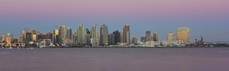 midway: A View of San Diego Bay and Downtown San Diego on at Twilight
