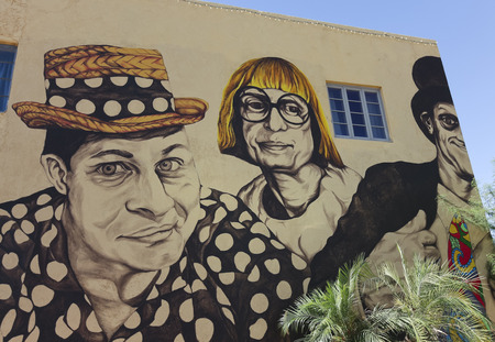 wallace: PHOENIX, ARIZONA - JUNE 5: The Wallace and Ladmo Mural at First Studio on June 5, 2013, in Phoenix, Arizona. The Wallace and Ladmo Mural is a nostalgic tribute to the longest-running childrens TV show in American broadcast history. Editorial