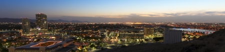 A Twilight View of Tempe and Phoenix, Arizona, from Atop Tempe Butte