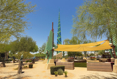 SCOTTSDALE, ARIZONA - JUNE 11: The Frank Lloyd Wright Spire on June 11, 2013, in Scottsdale, Arizona. The Frank Lloyd Wright Spire, in Scottsdale, is an amazing sight, popular with tourists. At night it lights up a cool blue.