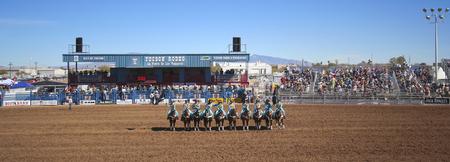 pima: Tucson, Arizona - February 15: The La Fiesta De Los Vaqueros Rodeo on February 15, 2014, in Tucson, Arizona. The Quadrille De Mujeres horsewomen open the 89th Annual 2014 Tucson Rodeo.