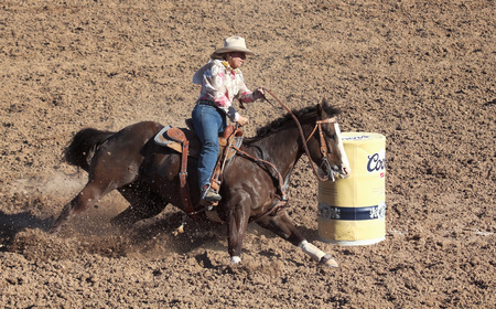 Tucson, Arizona - February 15: The La Fiesta De Los Vaqueros Rodeo on February 15, 2014, in Tucson, Arizona. Womens Barrel Racing rider Barbara Johnson in the 2014 Tucson Rodeo.