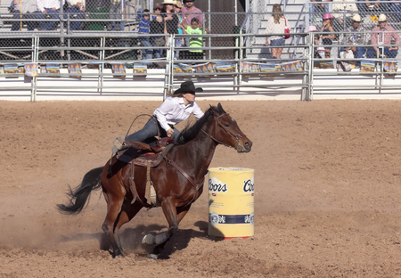 Tucson, Arizona - February 15: The La Fiesta De Los Vaqueros Rodeo on February 15, 2014, in Tucson, Arizona. Womens Barrel Racing rider Morgan Figueroa in the 2014 Tucson Rodeo.