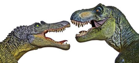 tiranosaurio rex: Un dinosaurio Spinosaurus en un Face Off con un Tiranosaurio Rex