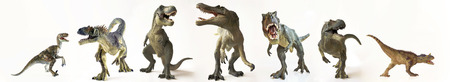 A Group of Seven Ferocious Dinosaurs Lined Up in a Row Against White