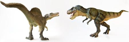 A Tyrannosaurus Rex Dinosaur Battles with a Spinosaurus on White
