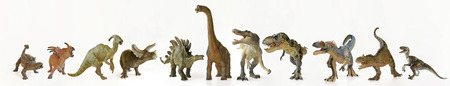 A Group of Eleven Ferocious Dinosaurs Lined Up in a Row Against White