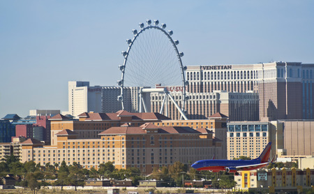 Las Vegas, Nevada - October 17: The High Roller ferris wheel on October 17, 2014, in Las Vegas, Nevada. The Highroller ferris wheel as seen from McCarran International Airport.